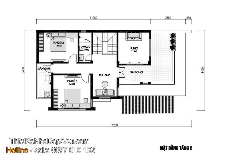 Bản vẽ mặt bằng biệt thự 2 tầng 3 phòng ngủ