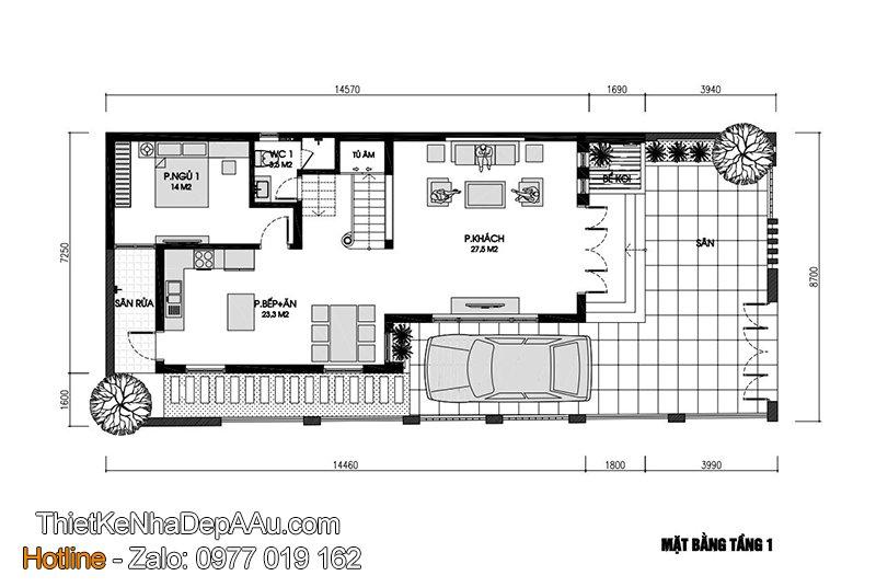 Bản vẽ mặt bằng biệt thự hiện đại 2 tầng 120m2