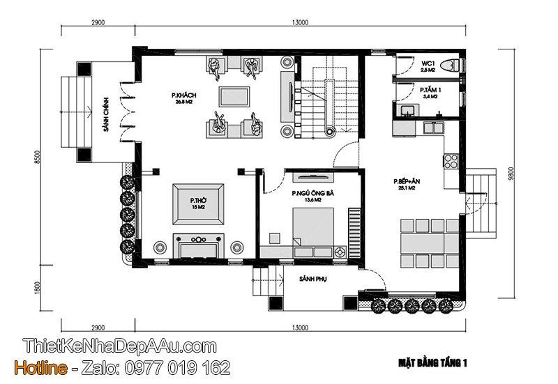 Mặt bằng biệt thự 2 tầng