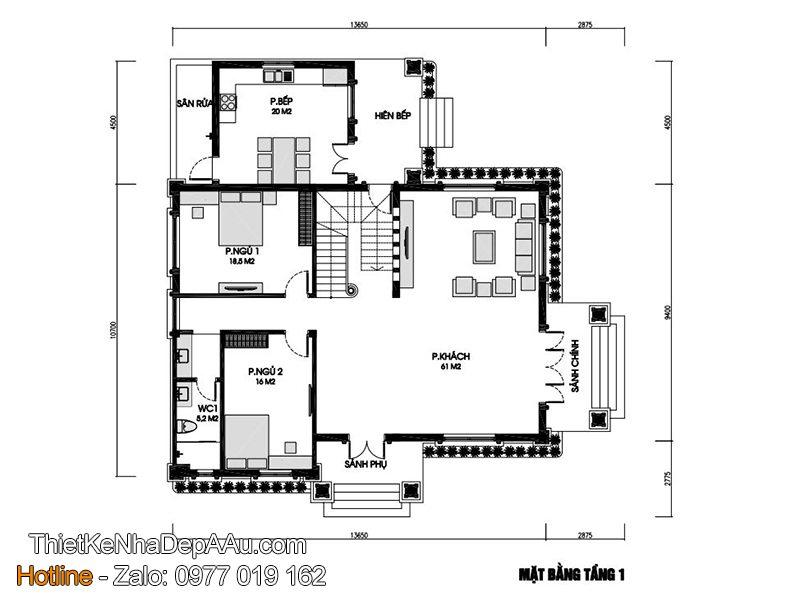 Mặt bằng nhà 2 tầng 160m2