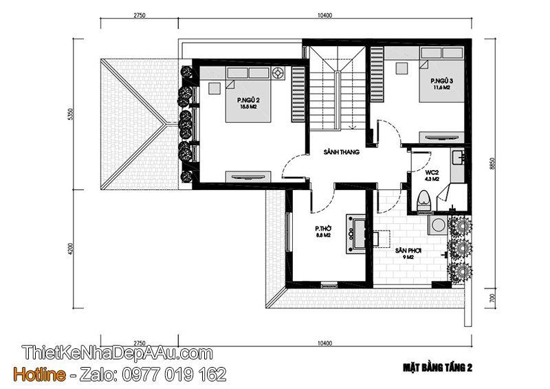 Mặt bằng biệt thự 2 tầng chữ L 90m2