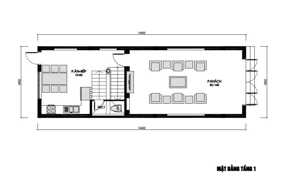 Mặt bằng nhà phố 3 tầng 5x14