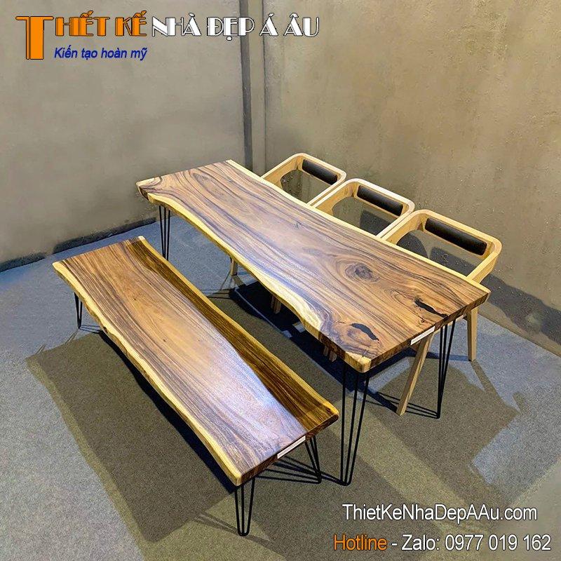 Bàn ghế gỗ nguyên tấm đẹp