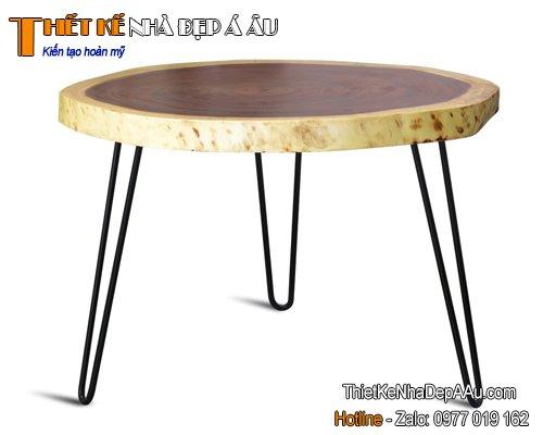 Bàn gỗ nguyên tấm chân sắt