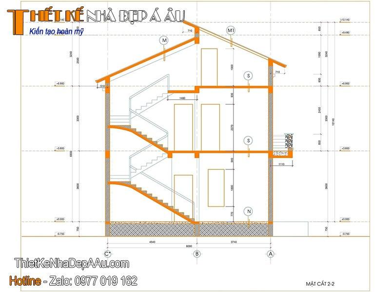 Bản vẽ kiến trúc biệt thự 2 tầng