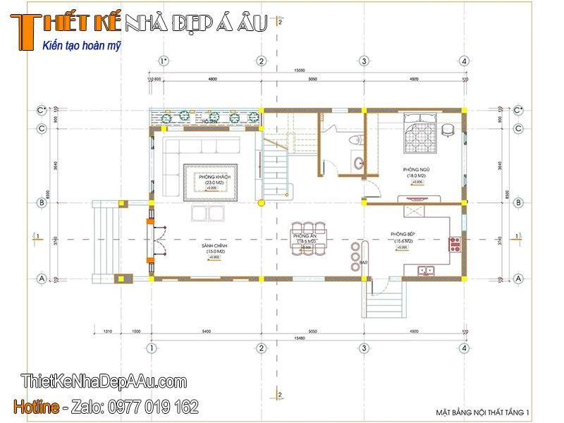 Mặt bằng biệt thự 2 tầng 8x15m