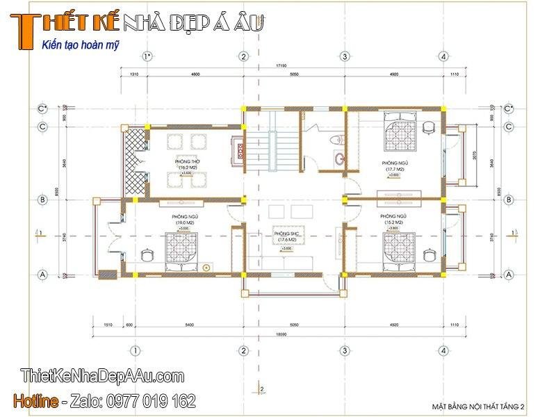Bản vẽ mặt bằng biệt thự 2 tầng 8x15m