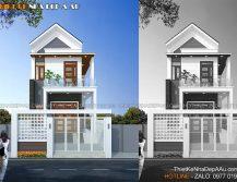 Bản vẽ kiến trúc mẫu nhà phố 2 tầng đẹp