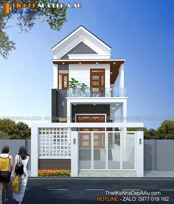 Thiết kế nhà phố 2 tầng mặt tiền 6m