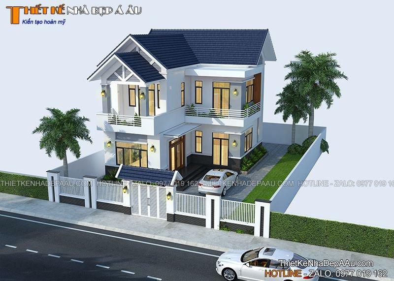 Nhà 2 tầng chữ L 9x11m