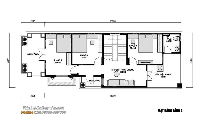 Mặt bằng nhà 2 tầng 1 tum